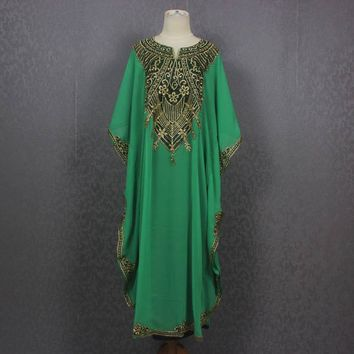 Resortwear, Loungewear, Maxi Dresses, Gift Dress, Green Maternity Dress Caftan Maxi Dress Plus Size Caftan Dress for beach cover ups