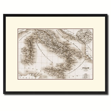 Italy Rome Vintage Sepia Map Canvas Print, Picture Frame Gifts Home Decor Wall Art Decoration