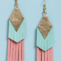 Claire Fong Fun with Fringe Blue and Pink Leather Earrings