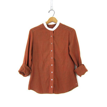 Sheer Copper Brown Shirt Secretary Button Up Blouse 1970s Retro Nehru Collar Collarless MOD Brown Vintage Womens Top Size Small Medium