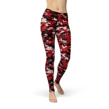Red Hex Camouflage Leggings