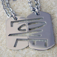 His and Hers Stainless Steel Love Dogtag Necklaces