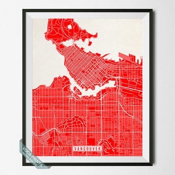 Vancouver Print, Canada Poster, Vancouver Map, Canada Print, Vancouver Poster, Canada Map, Street Map, British Columbia, Wall Art