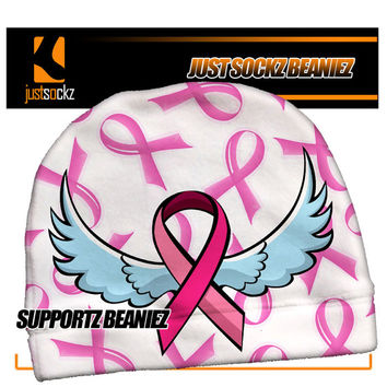 SUPPORTZ Custom Beanie skiing snowboarding pink ribbon breast cancer awareness