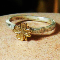 sterling silver solid gold four leaf clover ring, stacking