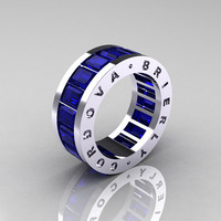 Mens Modern 14K White Gold Blue Sapphire Channel Cluster Infinity Wedding Band R174M-14WGBS
