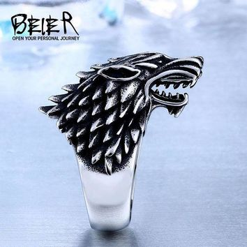 CREY8UV Beier Store Stainless Steel Game Thrones Ice Wolf House Stark Of Winterfell Biker Animal Ring Fashion Jewelry BR8-351