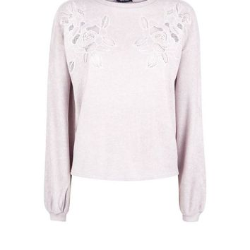 Pink Embroidered Lace Front Jumper | New Look