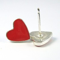 Heart Studs, Red post earrings, Stud heart Earrings, red color, valentines day, sterling silver