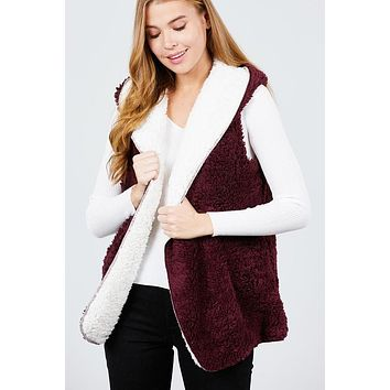 Faux Fur Reversible Vest with Open Front  - Burgundy/White