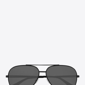 classic 11 zero sunglasses in semi matte black metal with silver mirrored lenses