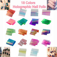 1Lot 18pcs/Colors Nail Art Latest Holographic Glass Nail Foils Shiny Laser Foils Transfer Candy Color Nail Sticker