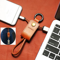 Genuine Leather usb cable iOS 10 8pin 3.0A fast Charger cable for iPhone 5S 6 6s 7 plus with Lanyard Metal Keychain cable