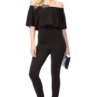 Black Flutter Off Shoulder Body Con Jumpsuit
