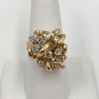Vintage 1.90ct Old mine cut Diamond Cocktail Ring 14k gold VVS2 F