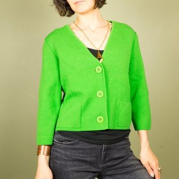 60s Mod Sweater Vintage Wool Cardigan Bright Green Big Buttons Cropped Retro sweater Italian~ Kimberly ~ Large