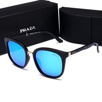 Prada Popular Women Men Simple Summer Sun Shades Eyeglasses Glasses Sunglasses Blue I-HWYMSH-YJ