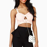 Laced Bow Crop Top - Peach