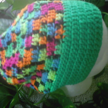 neon blacklight green orange pink multi-color  slouchy beanie rolled brim hat cap Hand crocheted ladies beanie hat handmade