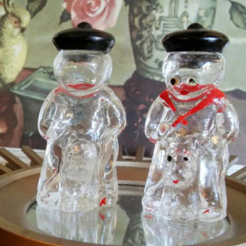 Vintage Japan Sailor Boy and Dog Glass Salt and Pepper Shaker