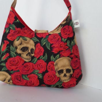 Skull and Roses - Handbag - Skull red rose Purse - Shoulder Bag with skulls - Designer fabric