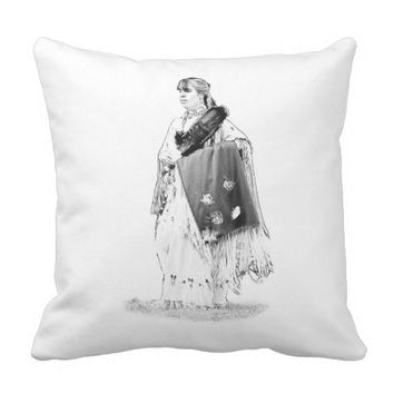 Native American Indian Blanket Dancer Throw Pillow