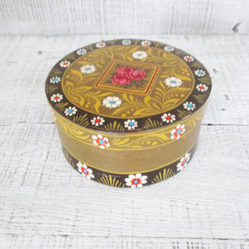 Wooden Box Vintage Hand Painted Box Folk Art Box Jewelry Box Handmade Box with Lid Vintage Trinket Box Colorful Box Cottage Chic