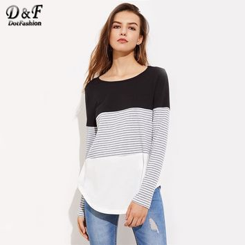 Striped Cut And Sew Curved Hem Tee Color Block Round Neck Woman Tops