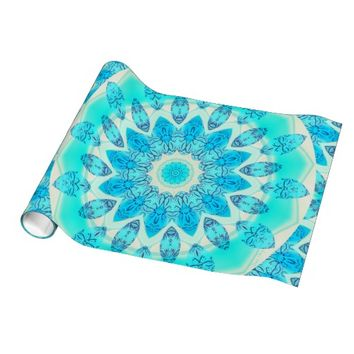 Blue Ice Star, Anstract Aqua Turquoise Mandala Gift Wrapping Paper