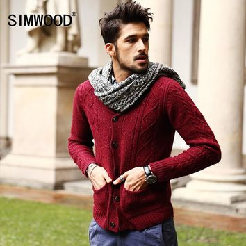 Men's 70% Wool Mens Sweaters Winter Autumn Cardigan Men 2017 New Fashion Casual Slim Pockets Red Sweater Brand Clothing MY331