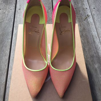 Christian Louboutin BNIB Follies Lace Raphia Size 37 100mm