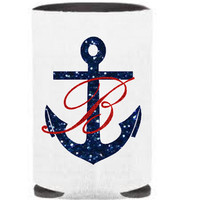 Nautical Anchor Koozie, Glitter Monogram Koozie, Anchor Monogram, Personalized Can Koozie