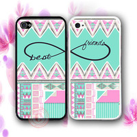 Pink Mint Aztec BFF Bestfriends iPhone Case -2 Rubber Silicone iPhone 5 Cases