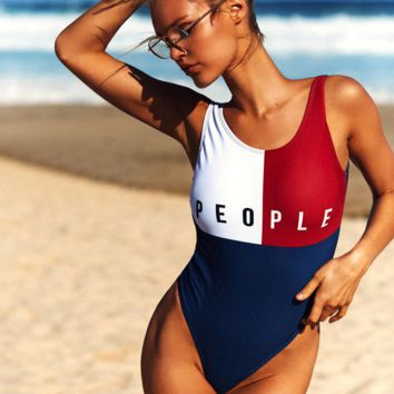 The New One Piece People Print One Piece Color Blocking Swimwear Beach Bikini