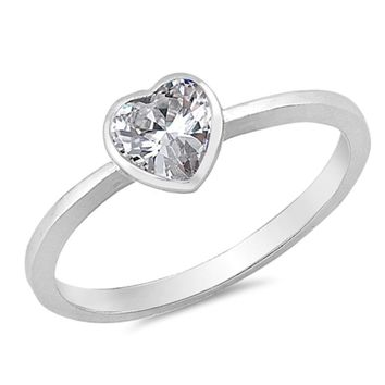 Choose Color Womens Girls Solitaire Heart Ring Rhodium Rose Gold Sterling Silver Solitaire Heart Promise Ring CZ