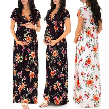 Telotuny maternity clothes Bohemian Floral Printing nursing dress maternity dresses for photo shoot Casual summer dress JL 24