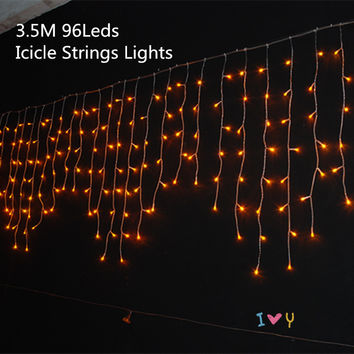 Christmas 3.5m Droop 0.3-0.5m Curtain Icicle Strings Led Lights IP20 Indoor Lightings 220V New year Garden Xmas Wedding Light