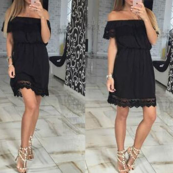 New Summer dress Sexy Woman Lace Off Shoulder dress -0628