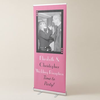 Wedding Backdrop / Photo Booth pink and black Retractable Banner