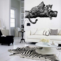 Wall decal decor decals art leopard animal predator Africa speed tree room bedroom (m1025)