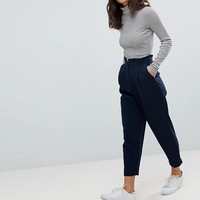ASOS PETITE Tailored Tapered PANTS with Ruffle Paperbag Waist at asos.com