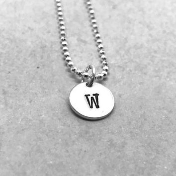 W Initial Necklace, Sterling Silver, All Letters Available, Letter W Necklace, Hand Stamped Jewelry, Everyday Necklace, Gifts for Her