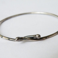 Organic Silver Bangle Industrial Urban Bangle Oxidized Sterling Silver Texture Bracelet by SteamyLab