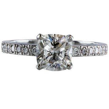 Tiffany & Co 1.01 Carat Cushion Diamond Platinum Engagement Solitaire Ring