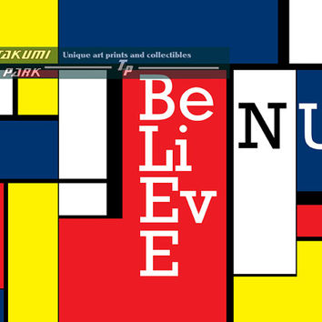 Believe N U, Inspirational Quote Art, Mondrian Style Art Print, Colorful Wall Art, Room Decor, Word Art, Quote Poster Art, Home Art Print