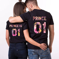 Prince Princess Couples Shirts, Fleur Collection, Floral Couple Shirts, Prince Princess Floral Shirts, Fleur Shirts, Couple T-Shirts, UNISEX