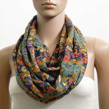 Green Floral Infinity Scarf Shawl Chunky Fashion Scarves for Women Circle Cowl Scarf Long Tube Scarf Loop Summer Scarf Gift for her Handmade