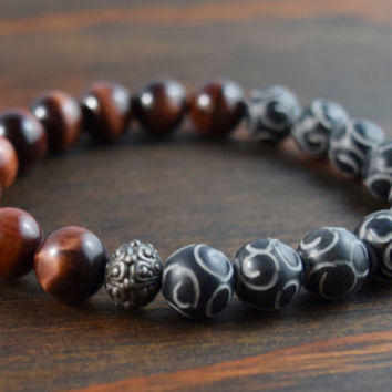 10mm Red Tiger Eye Bracelet with New Jade Beads. Men's Bracelet. Beaded Bracelet. Yoga Bracelet. Men's Fashion. Men's Gift. Lotus & Lava.