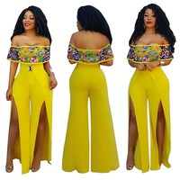 Sexy Yellow Mesh Embroidery High Split Jumpsuit