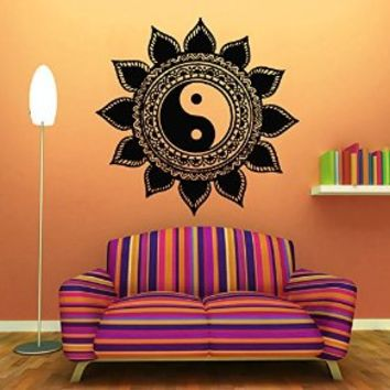 Wall Decor Vinyl Decal Sticker Home Interior Design Floral Indian Amulet Mandala Sun Flower Yin Yang Symbol Living Room Bedroom Kids Room Decor Kg721